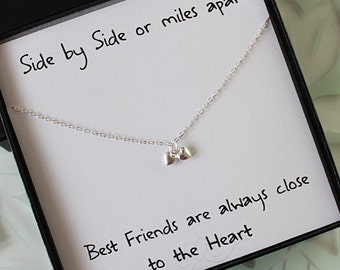 Best Friend Necklace & card, Sterling Silver Heart Necklace, Double heart Necklace, Best friend gift, Gifts for Her