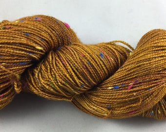 hand dyed sock yarn, donegal sock, superwash merino wool and NEP, colorway TOBACCO