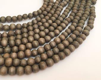 """6mm Gray Wood Beads, Natural Wood Beads, Graywood Round 16"""" strand"""