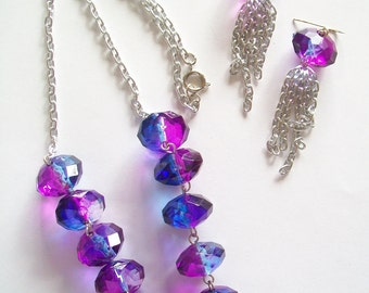 Necklace and Earring Set - Royal Blue and Purple Tie-Dye Jewels