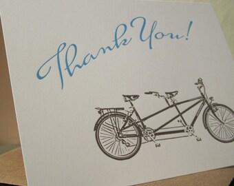 Tandem Fahrrad danke - Buchdruck-Karte
