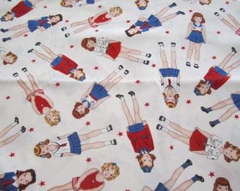 Remnant Sale !! Timeless Treasures Patriotic Paper Dolls  White Background Red White and Blue American Flag