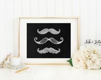 Mustache Wall Art - Chalkboard Print - Mustache Printable - Mustache Party - Boy Nursery Decor - 8x10 Wall Art - Instant Download