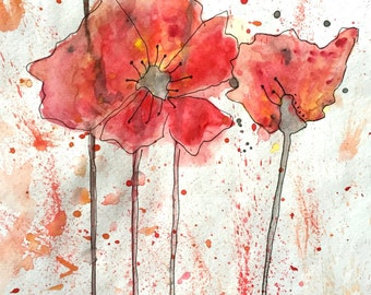 Red/Orange Poppies Print