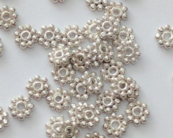 20 x Bright Silver Daisy Spacers, 4mm Bali Spacer Beads for Professional Jewelery Making, Jewelcrafting Supplies (225)