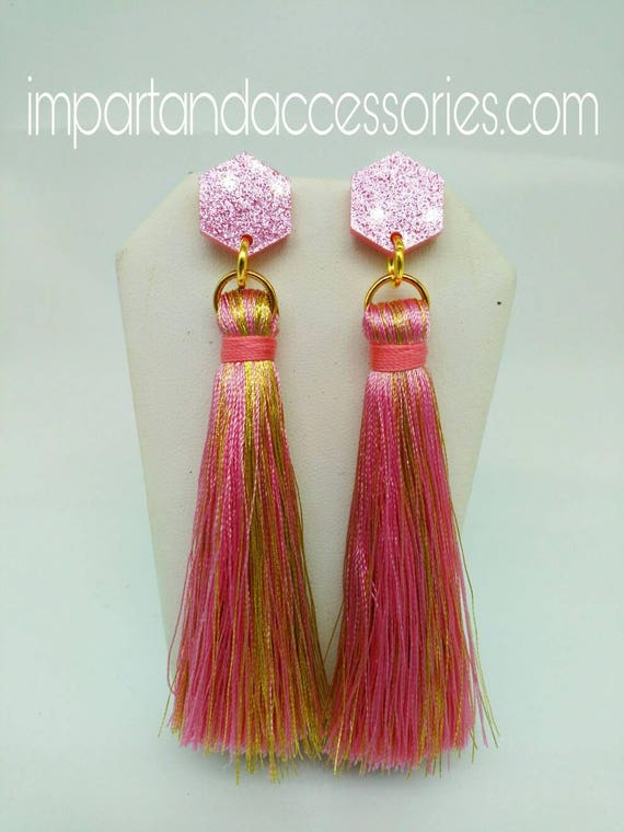 GLAM TASSELS in Pink and Gold Glitter Laser Cut Acrylic Stud Dangle Earring