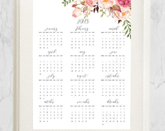 Printable Year Calendar 2018, Wall Calendar, Printable calendar 2018, Watercolor Flowers Calendar, A3, Digital Calendar, Instant Download