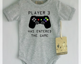 Player 3 has entered the game. Funny baby boy clothes. Video games baby clothes. Baby boy cute clothes.