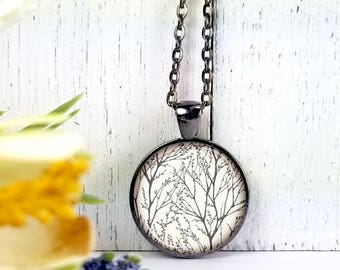 Twigs 1-Medium Round- Glass Bubble Pendant Necklace