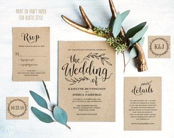 Vintage Wedding Invitation Suite, Printable Wedding Invitation Template, Rustic Wedding Invitation Cards, DIY Wedding, Editable Text, VW01