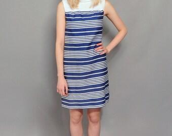 Vintage Mod Shift Dress // Navy & White Stripe Dress // 1960's Sleeveless Dress