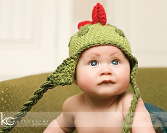 Crochet Baby Hat PATTERN Dinosaur Hat Crochet Hat Pattern Includes 5 Sizes Newborn to Adult Instant Download