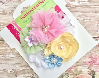 Pastel fabric hair bow-Easter hair bow-pastel color spring hair bow-aqua lime pink and yellow hair bow-fabric flower spring easter hair bow-