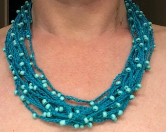 Aqua/Blue glass Multi strand beaded necklace/Beach Statement necklace/lightweight beaded necklace/Multi strand Bead crochet /Crocheted beads