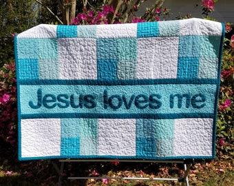 Jesus Loves Me, Handmade Baby Quilt, Baby blanket, Baby Gift, Toddler bedding, Toddler Quilt, Blue Baby Bedding, Baby Shower Gift