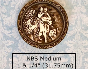 REDUCED!  c1890 Celluloid Ivoroid Antique Button Depicting A Couple Walking NBS Medium
