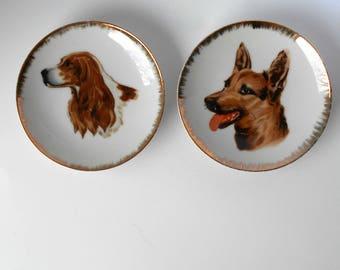 Two Trinket NickNack Trays Dishes Dogs German Shepherd and Spaniel