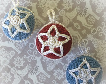 Christmas Crochet Pattern - Christmas Star Bauble Decoration - Crochet Decoration Pattern - PDF Instant Download