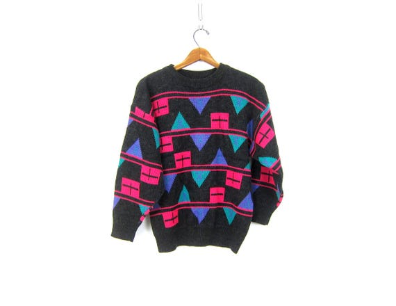 Retro Sweater Crewneck Pullover Top Geometric knit Pattern Sweater Jumper Hipster 1980s Charcoal Gray Sweater Women's Size Medium Large