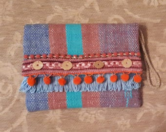 Boho bag, boho clutch, kilim, kourelou, clutch