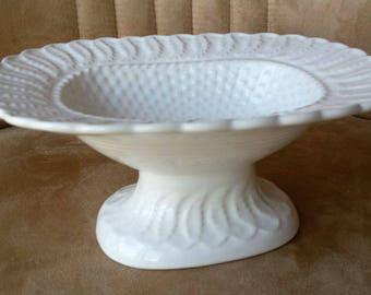White Ceramic Pedestal Serving Dish, Made in Portugal