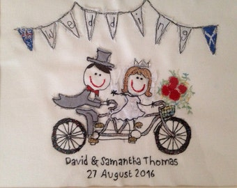 Wedding - personalised free motion embroidery gift