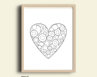 Heart coloring page download, valentine's day coloring page, adult coloring page, Kid coloring page download, circles coloring page wall art
