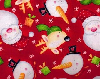 Christmas Santa Faces by Fabri-Quilt 1 Yard Cotton Fabric