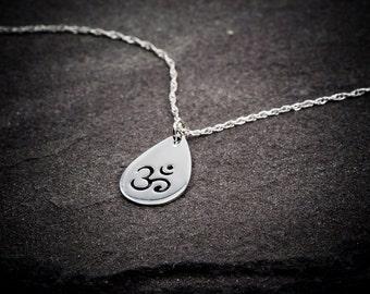 Om Necklace, Ohm Necklace, Sterling Silver Necklace, Yoga Necklace, Om Ohm Chain, Yoga Zen Jewelry, Ohm Om Charm Pendant