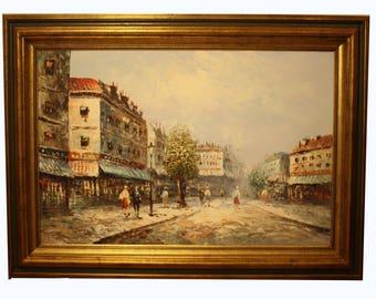 Oil on canvas 'parisian street scne' Caroline burnett - 19th century painting - antique painting - paris painting - antique art