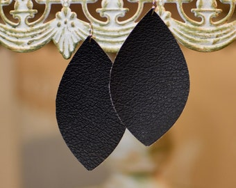 Flat black leather earrings- FREE SHIPPING