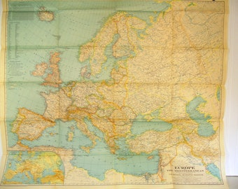 Map of Europe and the Mediterranean April 1938, The National Geographic Magazine, Gilbert Grosvenor Editor, Large Aged Vintage Map of Europe