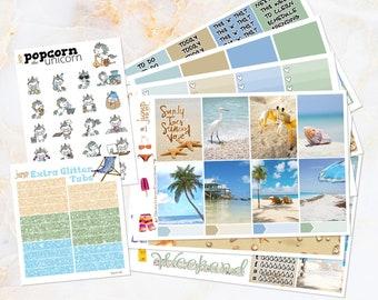 Beach Life set / kit weekly stickers - Erin Condren Vertical Planner - summer tropical