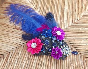 Jaipur Sapphire - ATS or tribal fusion belly dance hair clip | Gatsby flapper art deco  fascinator 1920 party ball (M)