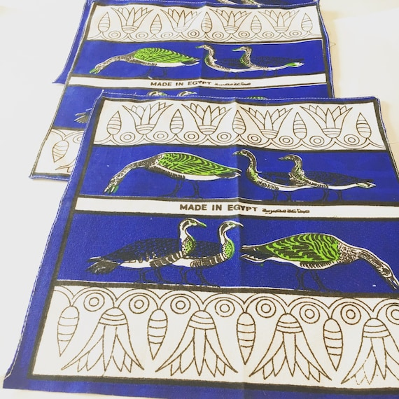 Vintage Mid Century Blue and White Napkins - Made in Egypt - Mid Century Linens - Set of Peacock Napkins