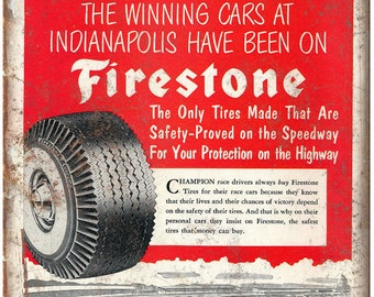 "Firestone Tires Indianapolis Speedway 10"" X 7"" Reproduction Metal Sign A548"