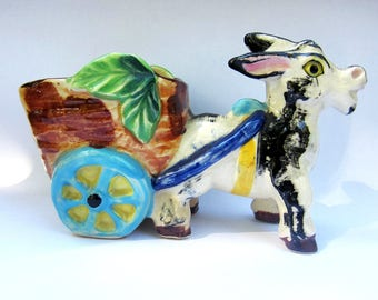 Adorable Vintage Ceramic Donkey Planter - black and white donkey with cart - made in Japan - vintage decor - retro