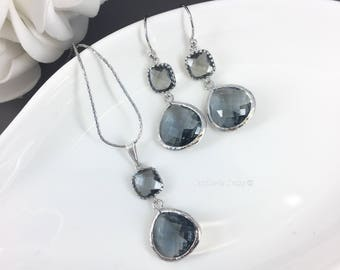 Bridesmaid Gift Dark Gray Bridesmaid Jewelry Charcoal Necklace Set Earrings Maid of Honor Gift Mother of Groom Gift Mother of Bride Wedding