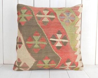 vintage turkish kilim pillow cover bohemian decor 16x16 eclectic kilim pillow throw pillow cover ethnic pillow kilim pillow case