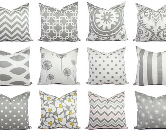 One Decorative Pillow Cover - Grey Pillow Cover - Custom Throw Pillow Cushion Cover Accent Pillow - Grey Throw Pillow