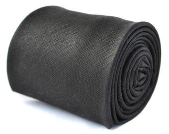 Frederick Thomas mens 100% wool tweed tie in plain black FT3397