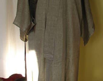 Hitoe unlined wool kimono lightweight