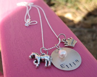 The Pony & Princess, personalized sterling silver necklace with horse and princess charms