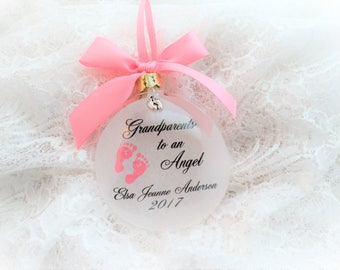 Miscarriage Baby Loss Christmas Ornament, Grandparents to an Angel, Free Personalization and charm