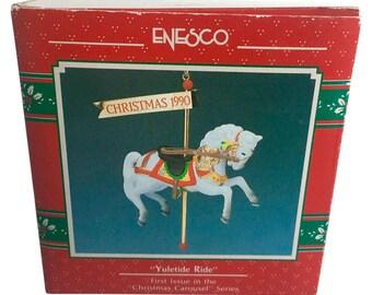 Treasury of Christmas Yuletide Ride Vintage Christmas Ornament 1990 Enesco