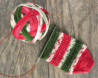 Christmas Pops Self Striping - Fingering weight - Hand Dyed Yarn - MCN - Merino - Cashmere - Nylon - Christmas Sock - Speckles