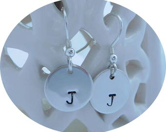 Silver Hand Stamped Initial Earrings, Hand Stamped Discs, Personalised Disc on Earring Hooks, Sterling Silver Round Drop Earrings