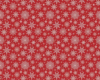 Comfort and Joy Snowflakes Red by Riley Blake Designs - Christmas Holiday Cream Snow - Quilting Cotton Fabric - choose your cut