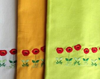 Towel, MADE IN HAWAII, Tea Towel, Dish Towel, Kitchen Towel, Kitchen Linens, Poppies, Single Towel