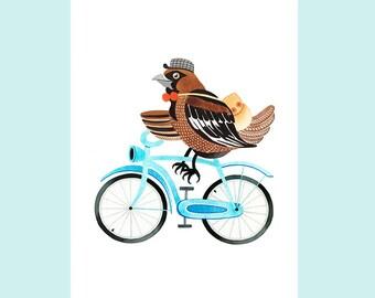 Bird on Bicycle Watercolor Art Print